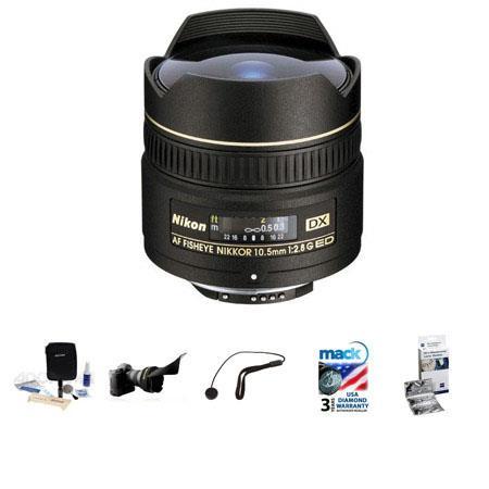 Nikon fG ED IF AF DX Fisheye Nikkor Lens FDSLR Cameras Nikon USA Warranty Bundle FleLens Shade New L 253 - 55