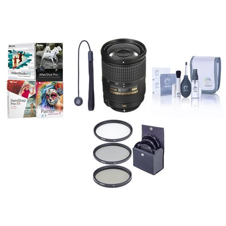 Nikon f G ED IF AF S DX VR Lens Nikon USA Warranty Bundle Filter Kit Ultra Violet Thin Circular Pola 228 - 542