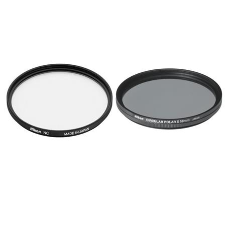 Nikon Filter Set NC Neutral Clear Filter and Circular Polarizer Thin Ring Multi Coated Filter 55 - 613