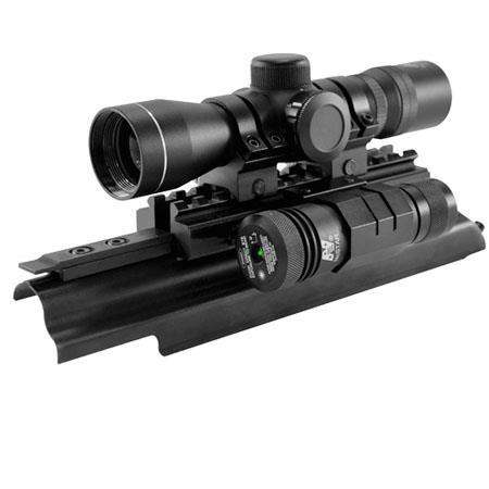 NcSTARCombo Series The Liberator Rifle Scope Laser Matte Sniper Reticle AK Weaver Style Rail Mount 100 - 7