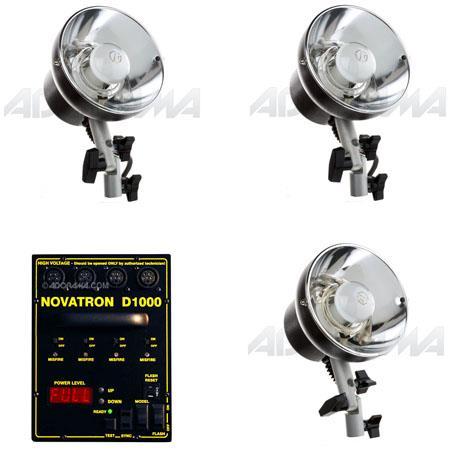 Novatron D Head Kit ws Digital Power Pack Heads Stands Umbrellas Wheeled Case 62 - 539