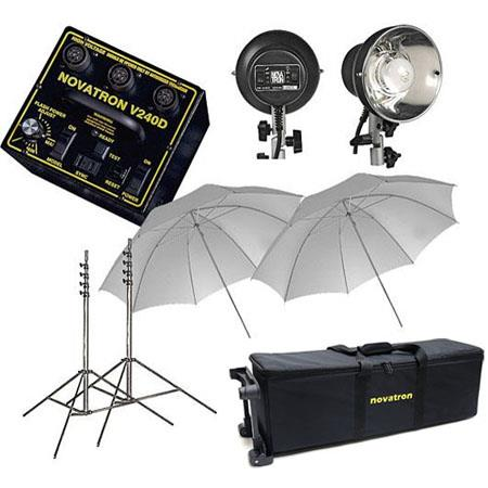 Novatron V D ws Head Fun Kit One One Head Power Pack Wheeled Case Umbrellas Stands 128 - 26