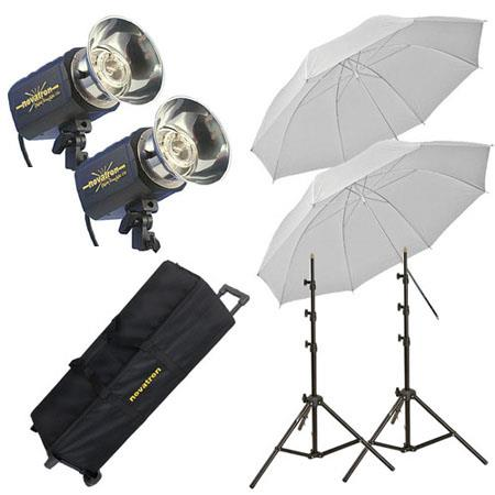 Novatron M ws Monolight Kit Wheeled Case ws Monolights Umbrella Soft BoStands 230 - 572
