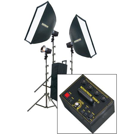 Novatron V D ws Head Power Pack Kit Wheeled Case Softboxes Light Stands 69 - 548