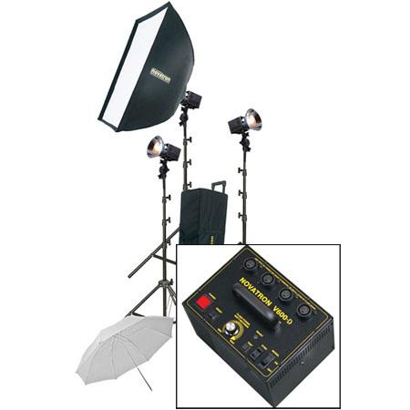 Novatron V D ws Head Power Pack Kit Wheeled Case SoftboUmbrella Light Stands 35 - 674