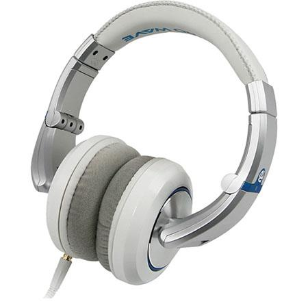 Numark Electrowave Premium Isolating DJ Headphones Drivers Straight and Curly Cables Pearl 80 - 404