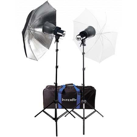 Interfit Photographic Continuous Output Watt Photo Flood Light Kit SXT Headsw Lamps Stands Umbrellas 123 - 684