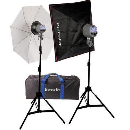 Interfit Photographic EXD Digital ws Two Monolight Flash Head Kit Light Stands Umbrella SoftboCase F 136 - 703