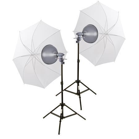 Interfit Photographic EZ Lite Tungsten Light Kit Two Watt Heads Bulbs Umbrellas Stands 170 - 608