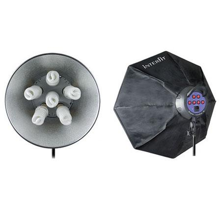 Interfit Photographic Supercoolite Twin Head Fluorescent Kit Twelve W lamps Two Reflector Two Octobo 45 - 513