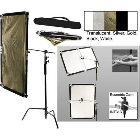 Interfit Photographic INT Large Flexilite Reflector Panel Kit Boom Arm C Stand Eccentric CamReflecto 80 - 257
