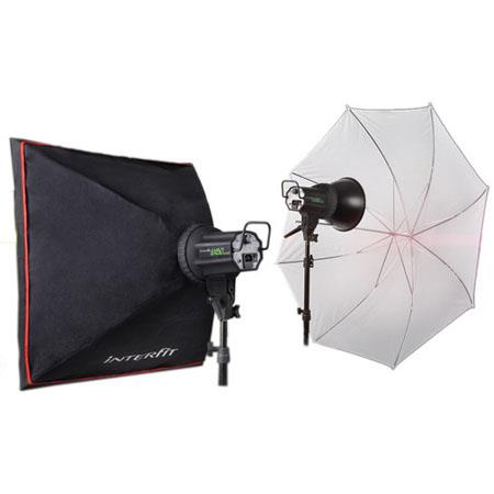 Interfit Photographic EX MKIII Kit Two watt Second Monolight Flashes Umbrella SoftboBulbs and Stands 91 - 653