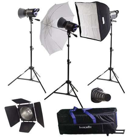 Interfit Photographic INT Stellar Umbrella SoftboKit Three watt Second Monolights Stands Carry Case 36 - 721