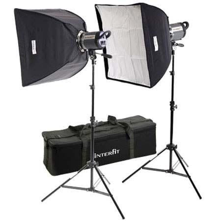 Interfit Photographic INT Stellar XD Twin SoftboKit Two Watt Second Monolights Softboxes Lightstands 37 - 474