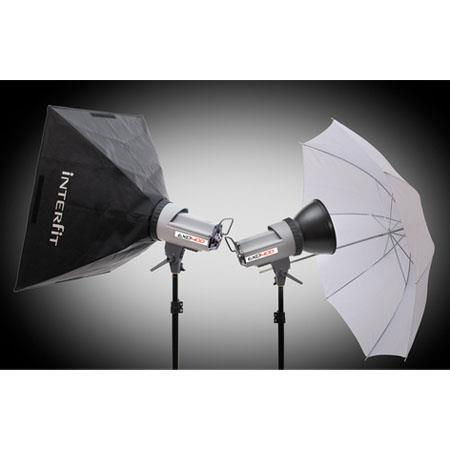 Interfit Photographic EXD Two Head SoftboUmbrella Kit ws Monolights Stands SoftboUmbrella Carry Case 138 - 662