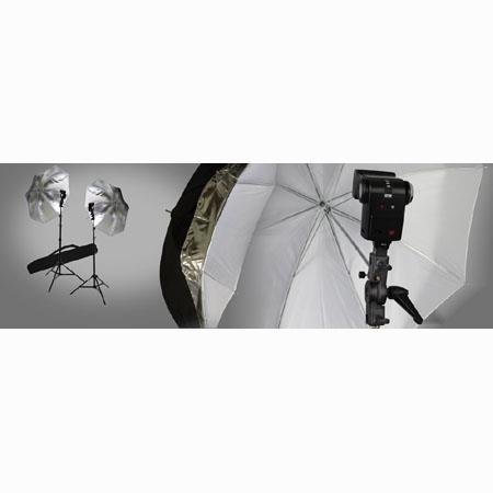 Interfit Photographic Strobie Twin Umbrella Kit Umbrellas Stands Brackets Case Shoe Mount Flashes 17 - 151