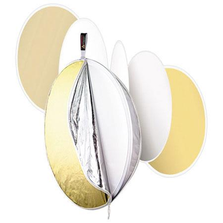 PhotofleMultiDisc Five In One Portable Reflector Gold Soft Gold Silver Translucent Fabrics Large cm 109 - 186