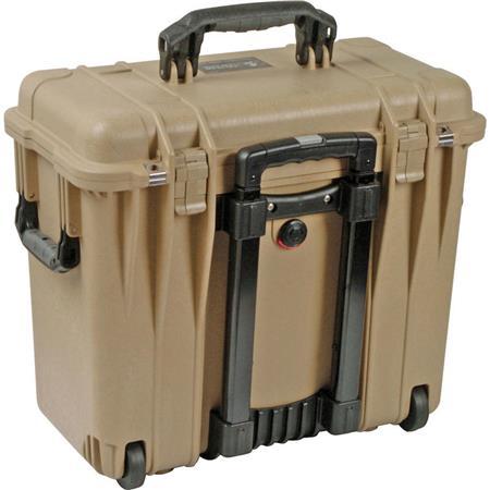 Pelican Toploader Watertight Hard Case Padded Dividers Lid Organizer Wheels Desert Tan 105 - 390