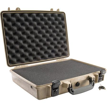 Pelican Attache Style Small Computer Watertight Hard Case Foam Insert Desert Tan 222 - 543