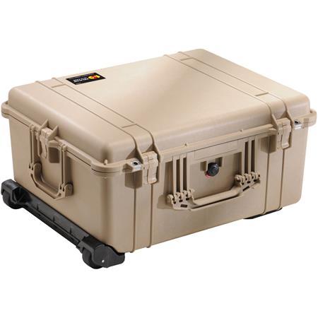 Pelican Watertight Hard Case Cubed Foam Wheels Desert Tan 105 - 390
