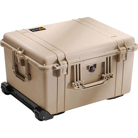 Pelican Watertight Hard Case Cubed Foam Interior Wheels Desert Tan 268 - 224