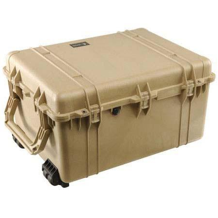 Pelican Watertight Hard Case Padded Dividers Wheels Desert Tan 48 - 685