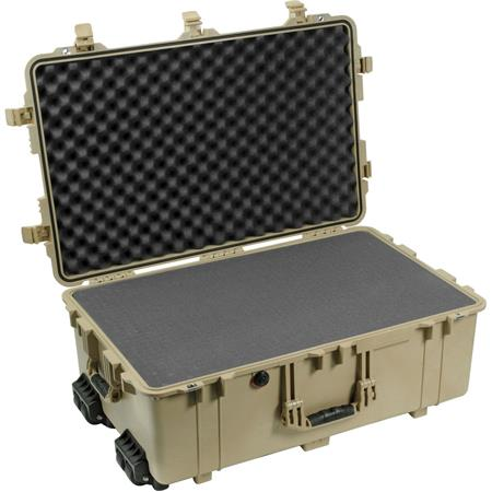 Pelican Watertight Hard Case Cubed Foam Wheels Desert Tan 142 - 730