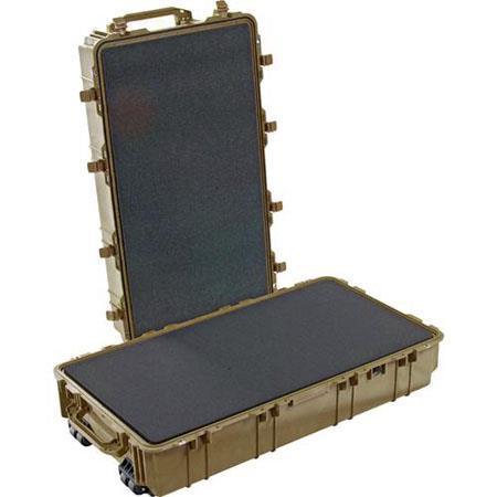 Pelican Waterproof Travel Case Foam Wheels Desert Tan 33 - 37