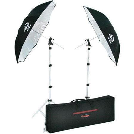 Photogenic Two Eclipse Umbrellas Mounts Air Cushioned Light Stands and Kit Case 82 - 245