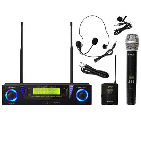 Pyle PDWM UHF Dual Channel Wireless Microphone System Adjustable Frequency 139 - 474