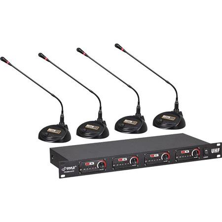 Pyle PDWM Rack Mount Channel Desktop Conference UHF Wireless Microphone System 61 - 465