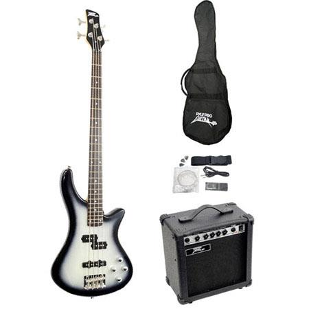 Pyle PGEKT Professional Full Size Electric Bass Guitar Package Amplifier 38 - 583
