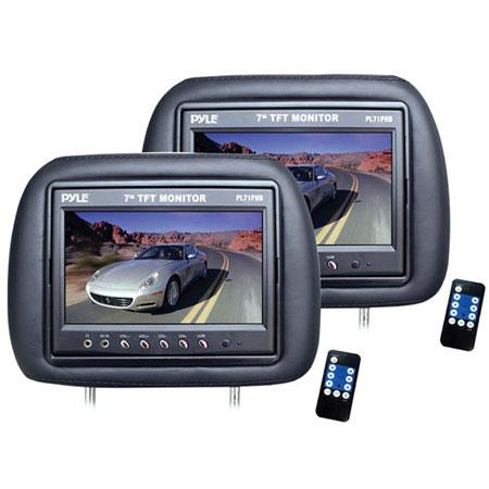 Pyle PLPH Adjustable Headrest Built TFT LCD Monitors Pair  70 - 654