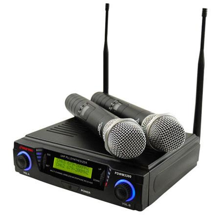 Pyle PDWM Professional UHF Dual Channel Wireless Microphone System Microphones 130 - 396