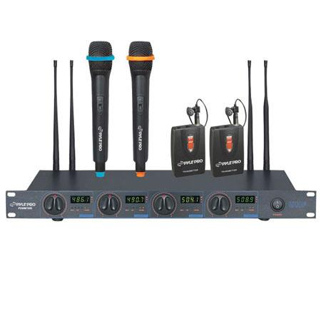 Pyle PDWM Rack Mount Professional Mic Wireless UHF Microphone System Lavalier and Handheld Microphon 78 - 258