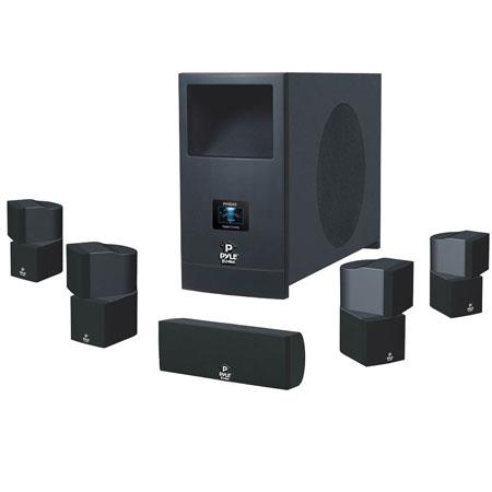 Pyle Channel Home Theater Surround Sound System Active Subwoofer and Five Satellite Speakers 205 - 334