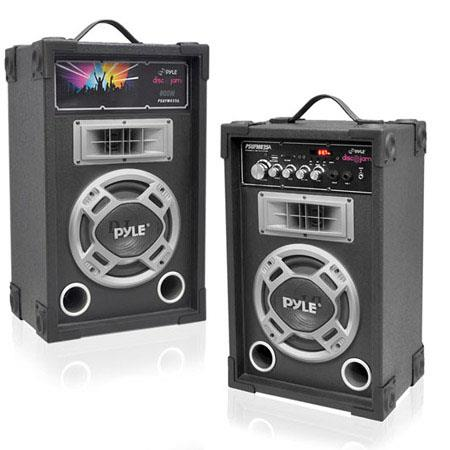 Pyle Dual Watts Disco Jam Powered Two Way PA Speaker System USBSD Card Readers FM Radio AUX Input 64 - 742