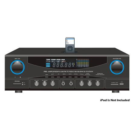 Pyle Watts Stereo Receiver AM FM Tuner USBSDiPod Docking Station and Subwoofer Control 72 - 675