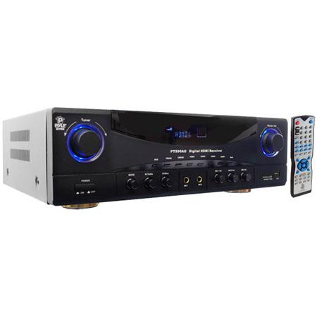 Pyle Channel Watts HDMI Amplifier Receiver Built In AMFM RadioUSBSD Card and D Pass Thru 51 - 758