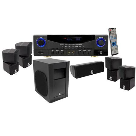 Pyle Channel W Digital Home Theater AMFM Receiver Surround Sound Package 52 - 750