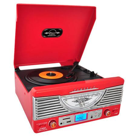 Pyle PTRU Retro Turntable AUX InputRadioUSBSDMP and Vinyl to MP Encoding  93 - 573