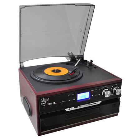 Pyle PTTCDSU Vintage Styled Turntable AMFM RadioCassetteCD USBSD and AuInput iPod and MP Players 42 - 400