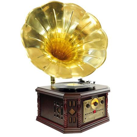 Pyle Vintage Phonograph Horn Turntable CD Cassette AMFM AuIn USB to PC Recording 45 - 635