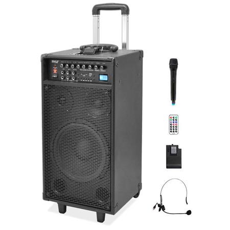 Pyle watt Dual Channel Wireless Rechargeable Portable PA System HandheldLavalier Microphones 208 - 216