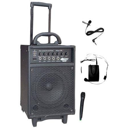 Pyle Watt Dual Channel Wireless Rechargeable Portable PA System Handheld Mic and LavalierHeadset Mic 23 - 388