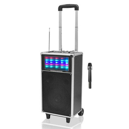 Pyle PWMAUFM W Portable PA Speaker System USBSD Readers FM Radio and Flashing Lights Hz kHz Frequenc 57 - 681