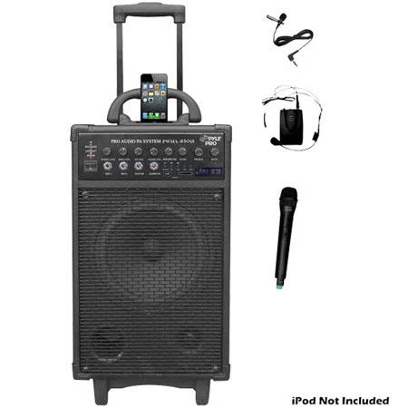 Pyle watt Dual Channel Wireless Rechargeable Portable PA System iPodiPhone Dock FMUSBSD Handheld Mic 30 - 460