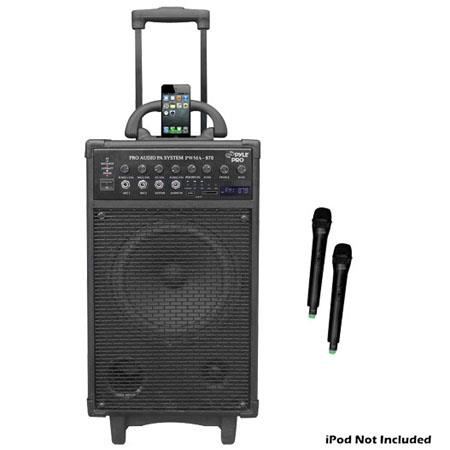 Pyle Watt Dual Channel Wireless Rechargeable Portable PA System iPodiPhone Dock FM RadioUSBSD and Ha 256 - 410