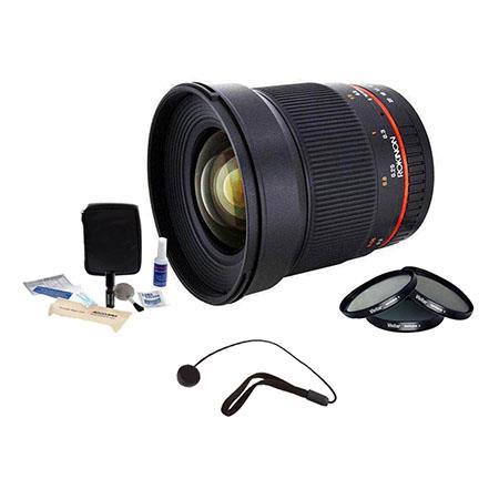 Rokinon F ED AS UMC CS Lens PentaK APS C Mount Cameras Bundle with Pro Optic Digital Essentials Filt 75 - 726