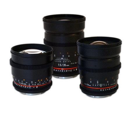 Rokinon Nikon Mount Three Cine Lens Bundle T Cine Lens T Cine Lens and T Cine Lens For Nikon Video D 174 - 534